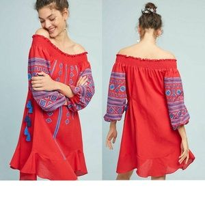 NEW Anthropologie Scarlet Peasant Dress